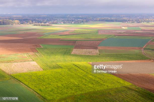 aerial view of outskirts of brussels - urban sprawl stock pictures, royalty-free photos & images