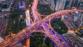 Aerial view of overpass at night