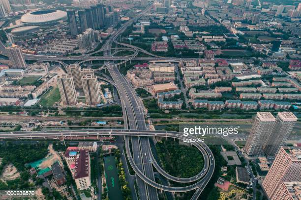 aerial view of overpass - liyao xie stock pictures, royalty-free photos & images