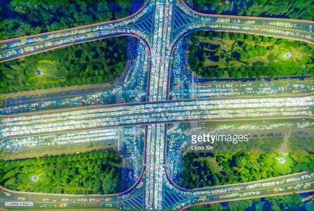 aerial view of overpass (stacking 150 photos overlay) - liyao xie stock pictures, royalty-free photos & images