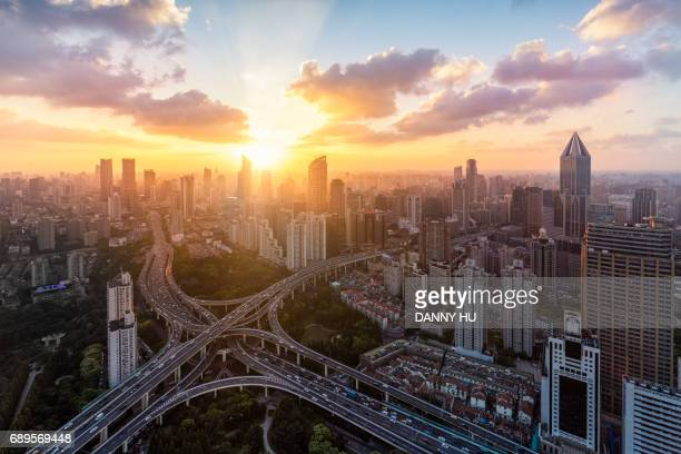 Aerial view of overpass, shanghai,China