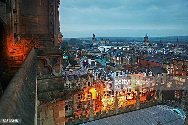 aerial view of oxford illuminated at dusk - oxford england stock pictures, royalty-free photos & images
