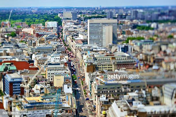 aerial view of oxford street in london - oxford street london stock photos and pictures