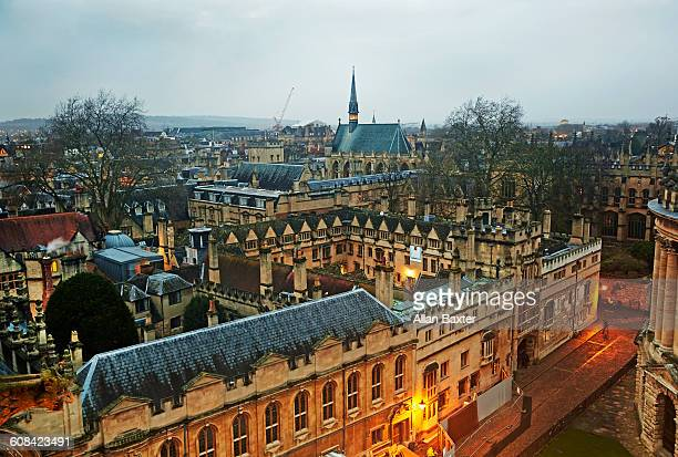 aerial view of oxford with exeter college - oxford england stock pictures, royalty-free photos & images