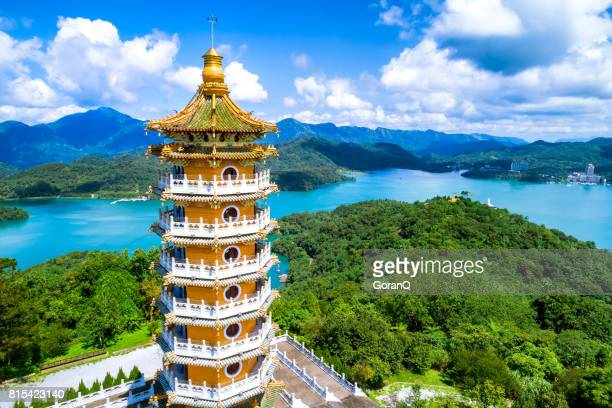 aerial view of pa cien pagoda with ita thao pier background in nantou - taiwan stock photos and pictures