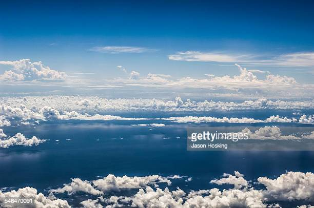 Aerial view of Pacific Ocean from airplane