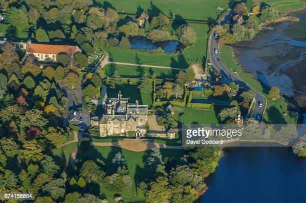 OCTOBER 10 Aerial view of Palace House Beaulieu home of Lord Montagu on October 10 2010 This Victorian country house is located 6 miles south of...