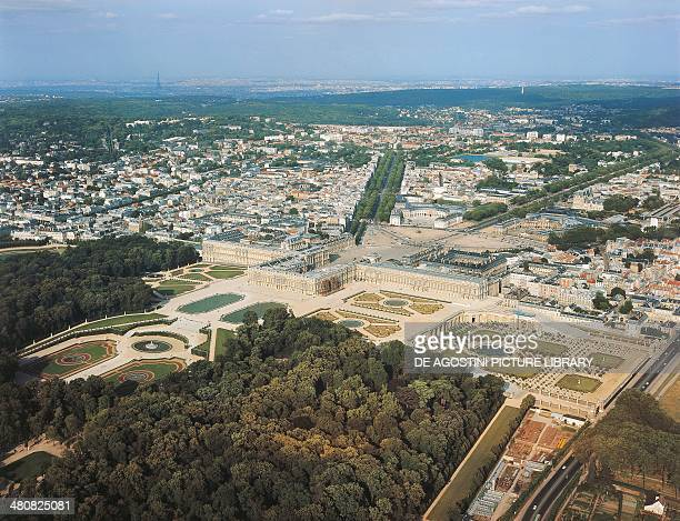 Aerial view of Palace of Versailles' gardens Ile de France France