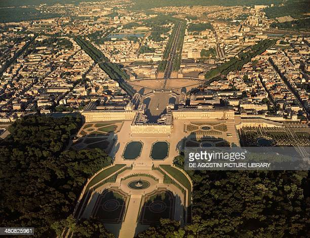 Aerial view of Palace of Versailles Ile de France France