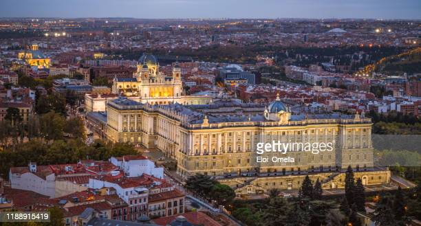 aerial view of palacio real and almudena cathedral at sunset - madrid stock pictures, royalty-free photos & images