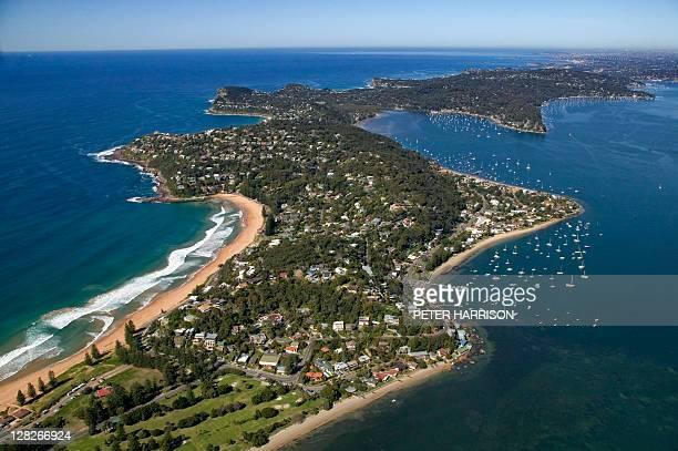 aerial view of palm baeach, new south wales, australia - bundesstaat new south wales stock-fotos und bilder
