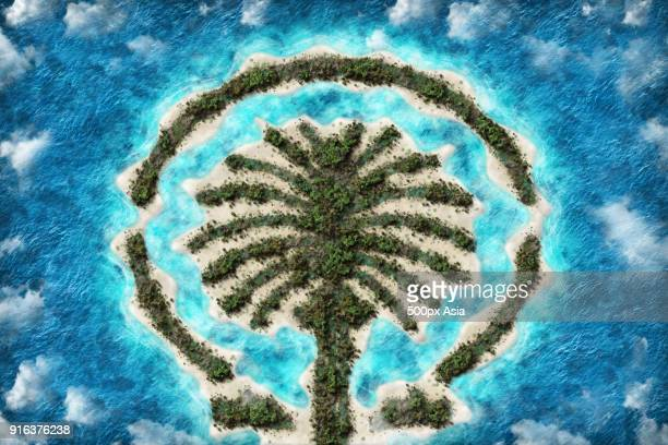 aerial view of palm islands, dubai - image stock pictures, royalty-free photos & images