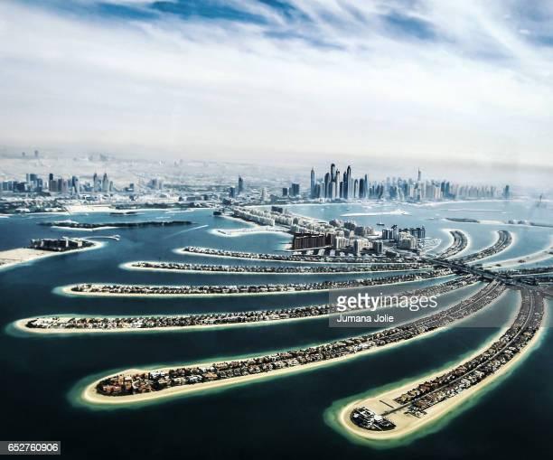 Aerial view of Palm Jumeirah and Dubai Marina