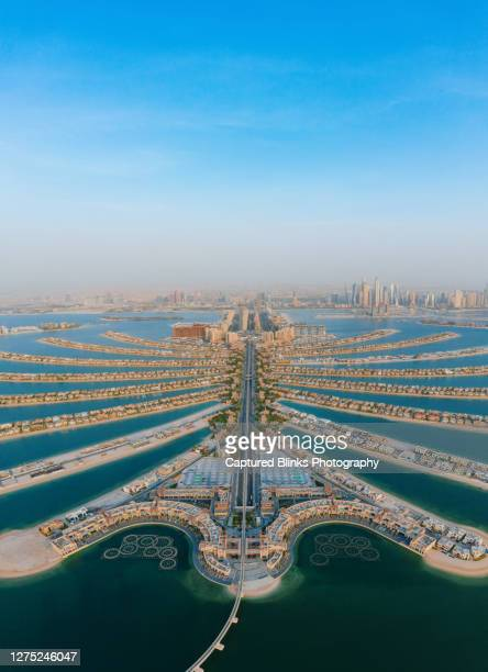 aerial view of palm jumeirah islands in dubai - dubai stock pictures, royalty-free photos & images