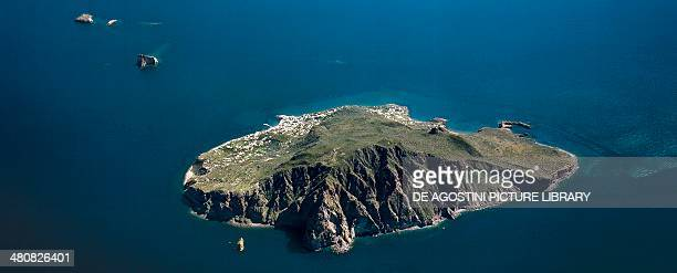 Aerial view of Panarea Island in the Aeolian or Lipari Islands Sicily Region Italy