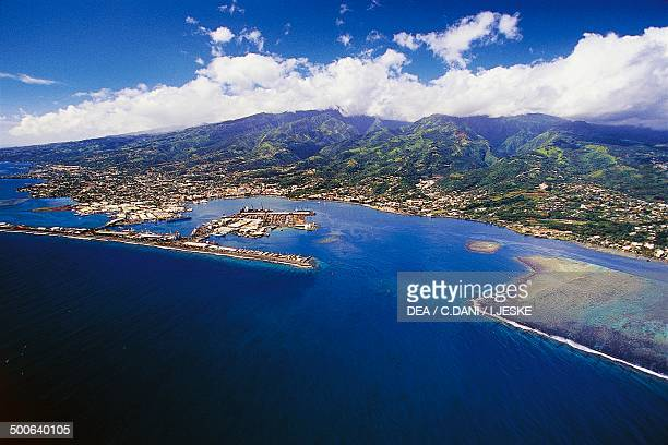 Aerial view of Papeete Tahiti French Polynesia Overseas Territory of France