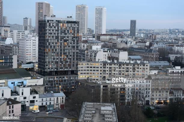 Aerial view of Paris and Paris suburb on July 14 2017 in Paris France