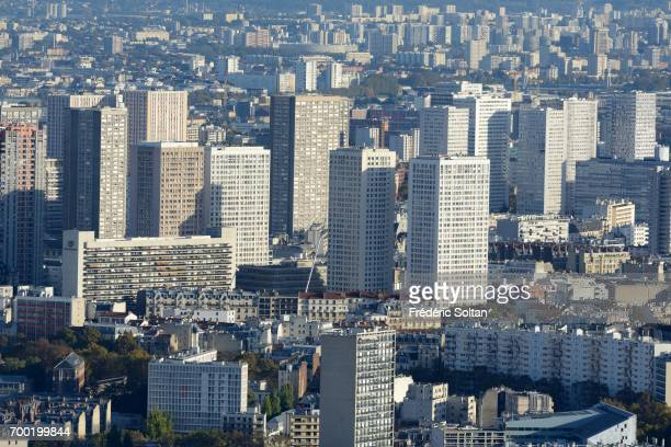 Aerial view of Paris and suburbs on June 16 2017 in Paris France