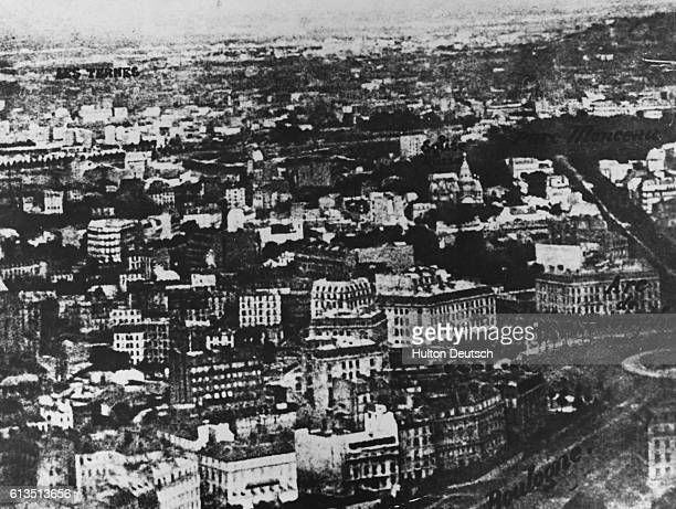 Aerial view of Paris at an altitude of 520m, photographed by Nadar, 1858. French photographer Nadar is noted for his outstanding photographs, mostly...