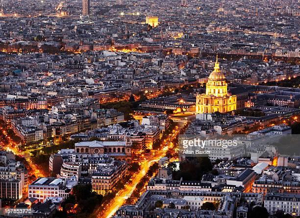 aerial view of paris at night - カルチェデザンヴァリッド ストックフォトと画像