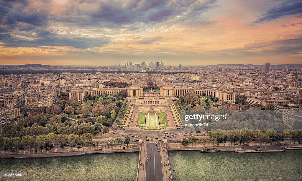 Aerial view of Paris at sunset : Stock Photo