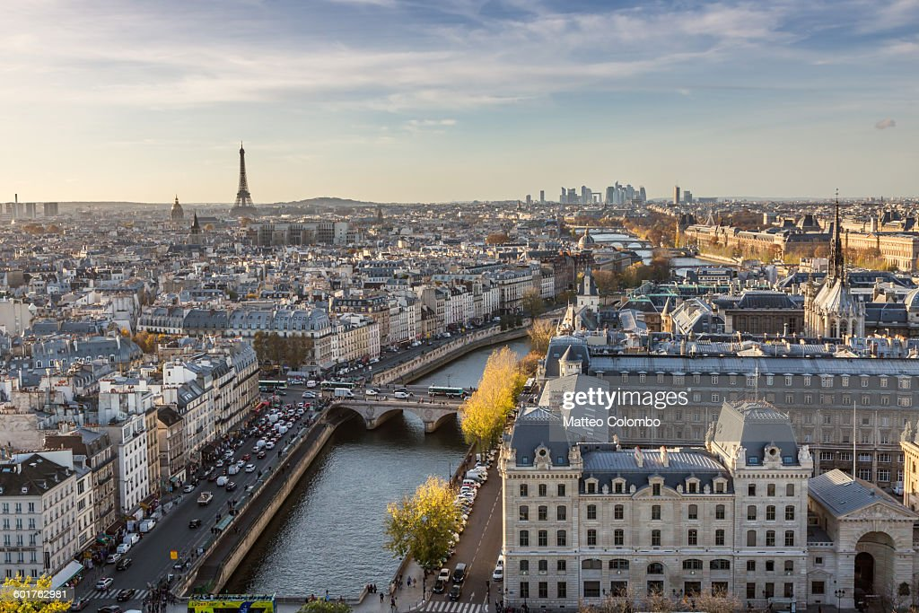 Aerial view of Paris city with Eiffel tower : Stock Photo
