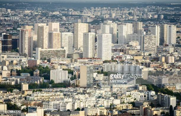 aerial view of paris cityscape, paris, ile de france, france - quartier résidentiel photos et images de collection