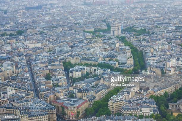 Aerial view of Paris - France: l`arc de triumph