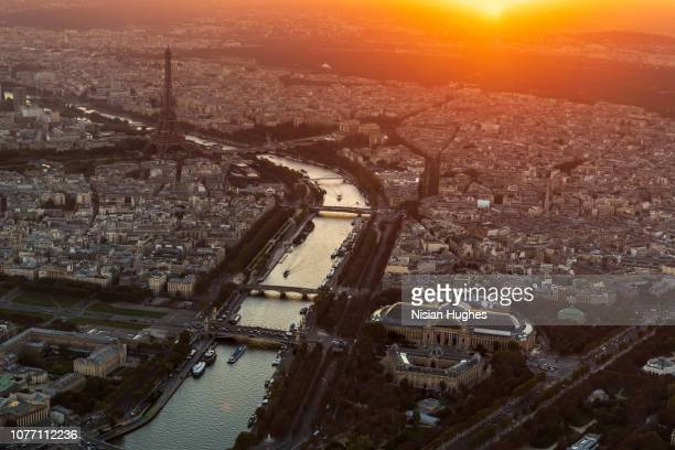 aerial view of paris france with eiffel tower, sunset - centre pompidou stock pictures, royalty-free photos & images