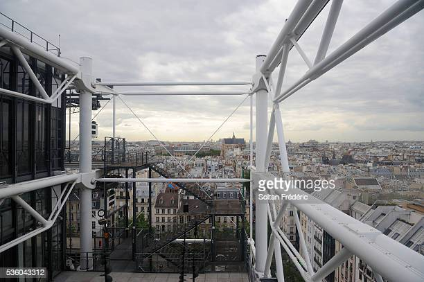 aerial view of paris - centre pompidou stock pictures, royalty-free photos & images