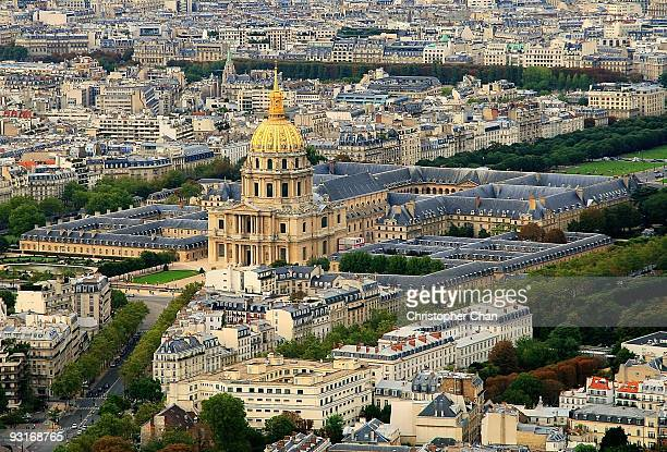 aerial view of paris - les invalides quarter stock photos and pictures