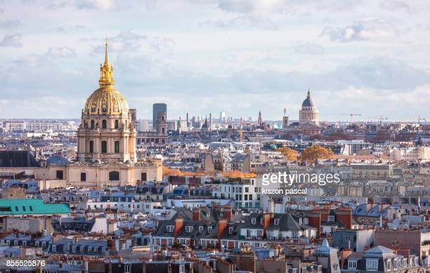 aerial view of paris roofs in day ( france ) - les invalides quarter stock photos and pictures