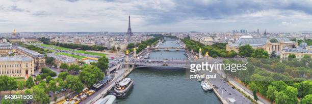 Aerial view of Paris with Eiffel tower and Seine river