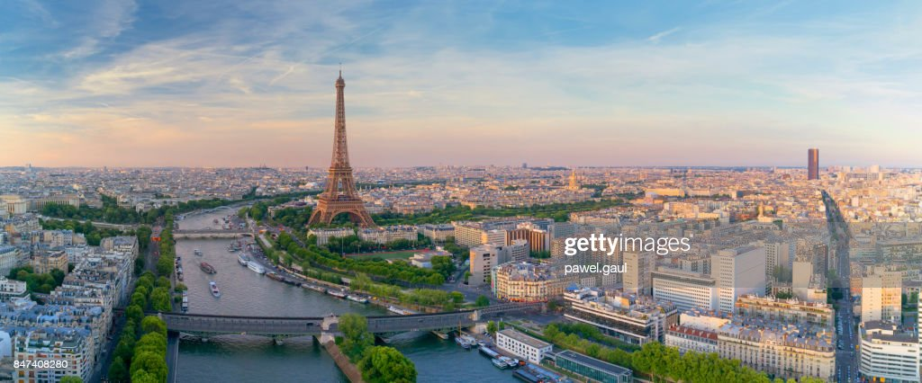 Aerial view of Paris with Eiffel tower during sunset : Stock Photo