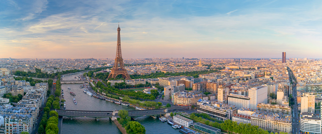 Aerial view of Paris with Eiffel tower during sunset 847408280