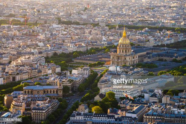 aerial view of paris with the dome of invalides during day . france . - カルチェデザンヴァリッド ストックフォトと画像