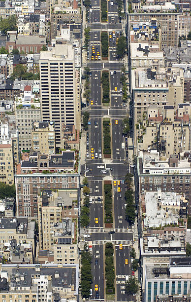 Aerial view of Park Ave. in Manhattan.