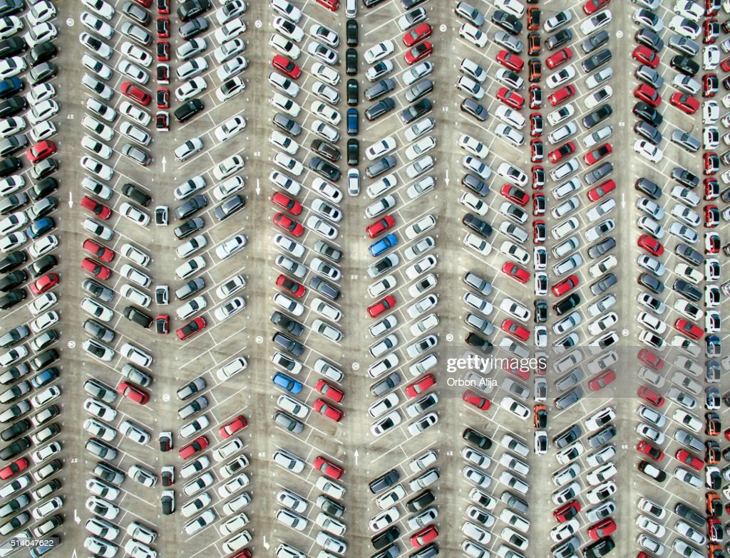 Aerial view of parked cars : Stock Photo