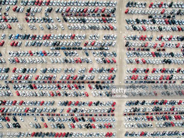 aerial view of parked cars - abundance stock pictures, royalty-free photos & images