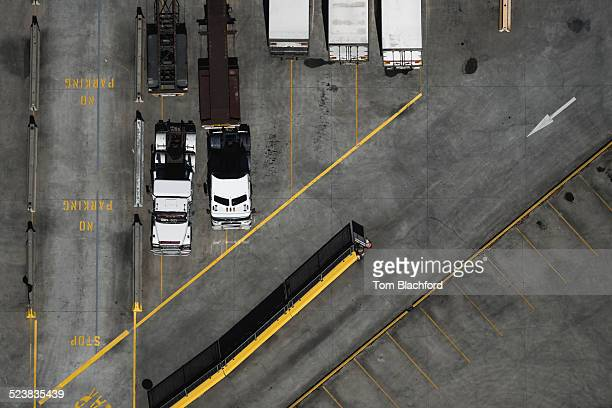 Aerial view of parked trucks, Port Melbourne, Melbourne, Victoria, Australia