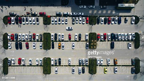 aerial view of parking lot with cars, xian, shaanxi province, china - image stockfoto's en -beelden