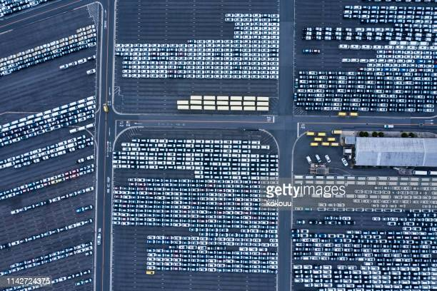 aerial view of parking - parallel stock pictures, royalty-free photos & images