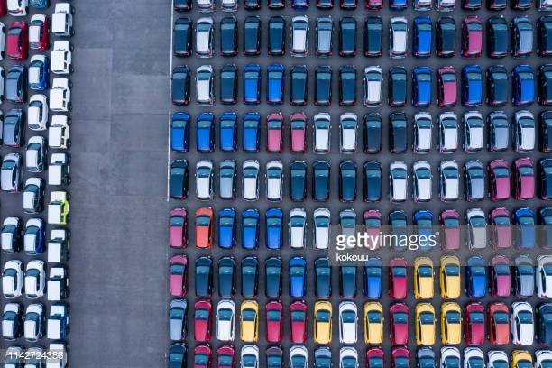 aerial view of parking - car park stock pictures, royalty-free photos & images