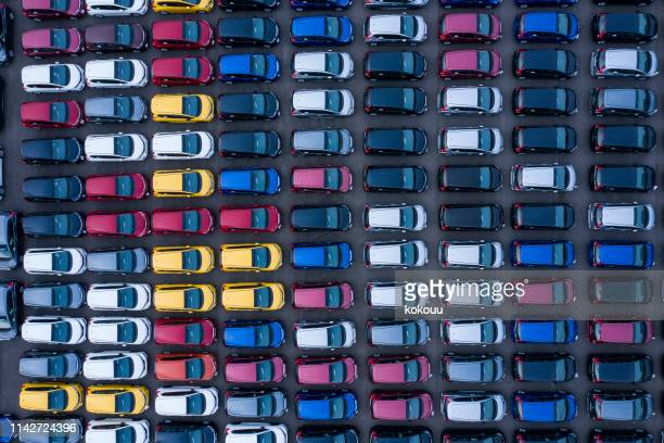 aerial view of parking - freight transportation stock pictures, royalty-free photos & images