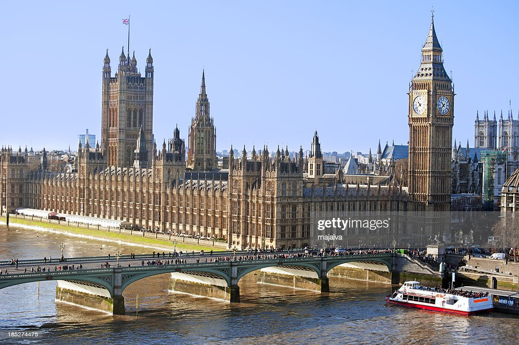 Aerial view of Parliament and Big Ben : Stock Photo