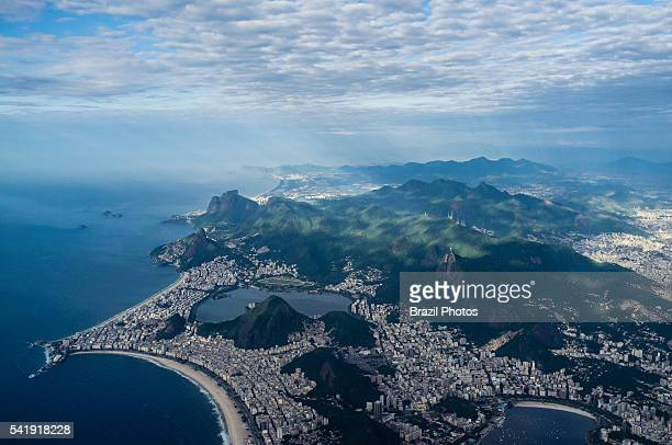 Aerial view of part of Rio de Janeiro south zone Copacabana beach at leftforeground Ipanema and Leblon beaches at leftcenter Corcovado mountain with...