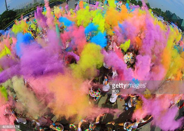 Aerial view of participants competing during The Color Run 2016 on November 12 2016 in Shenzhen Guangdong Province of China The Color Run 2016 ends...