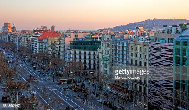 Aerial view of Passeig de Gracia at sunset