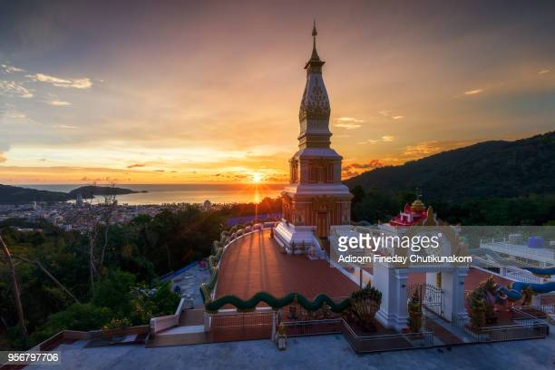 Aerial View of Patong temple with sunset view ,Phuket