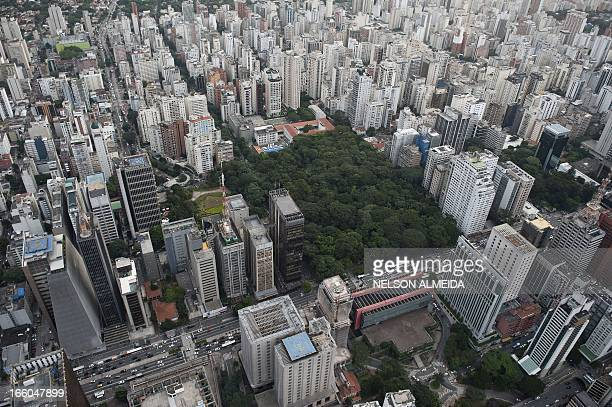 Aerial view of Paulista Avenue in dowtown Sao Paulo Brazil on April 4 2013 AFP PHOTO / Nelson ALMEIDA